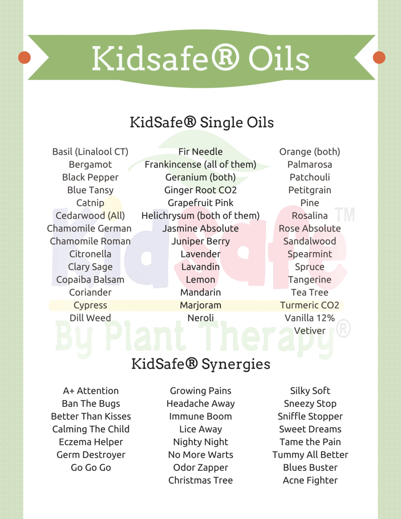 List of Kidsafe Oils