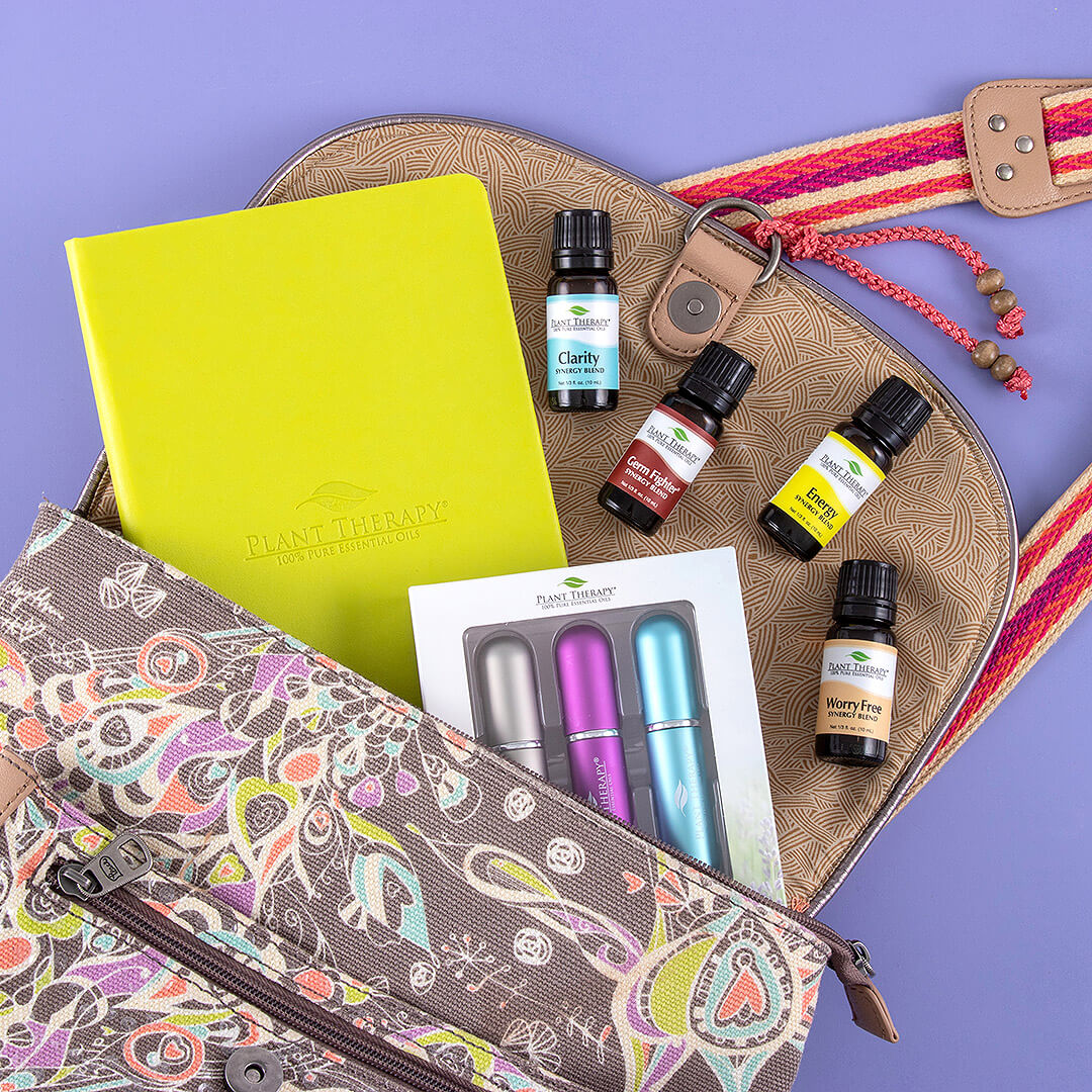 essential oils from Plant Therapy in a book bag