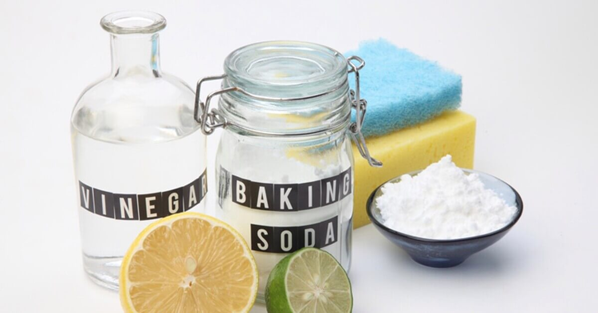 Baking soda and vinegar with cut lemon and lime