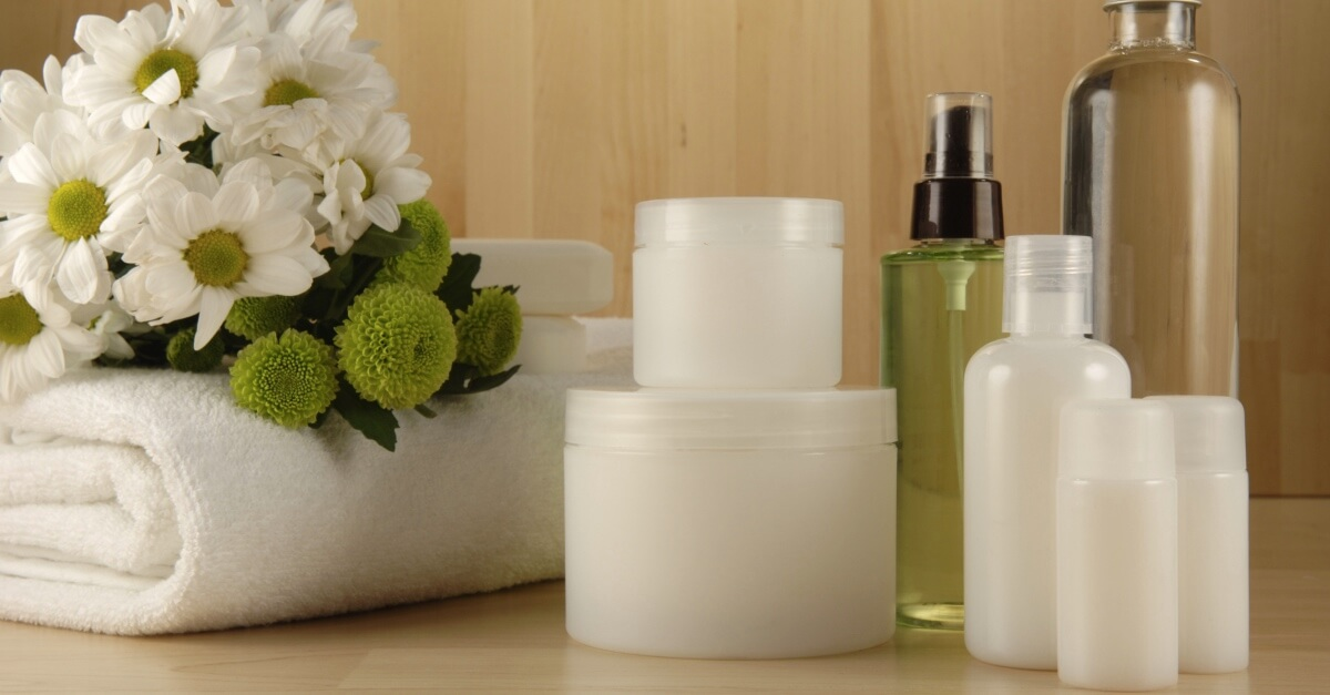 Bottles and containers of beauty products
