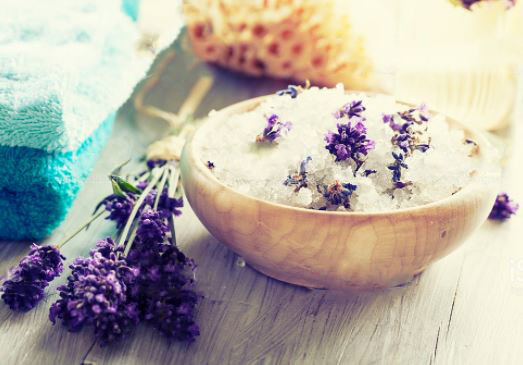 Lavender essential oil and salt baths can help relax the senses.