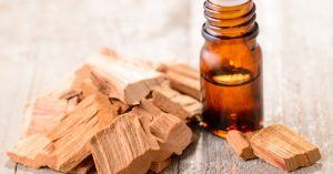 sandalwood pieces essential oil bottle
