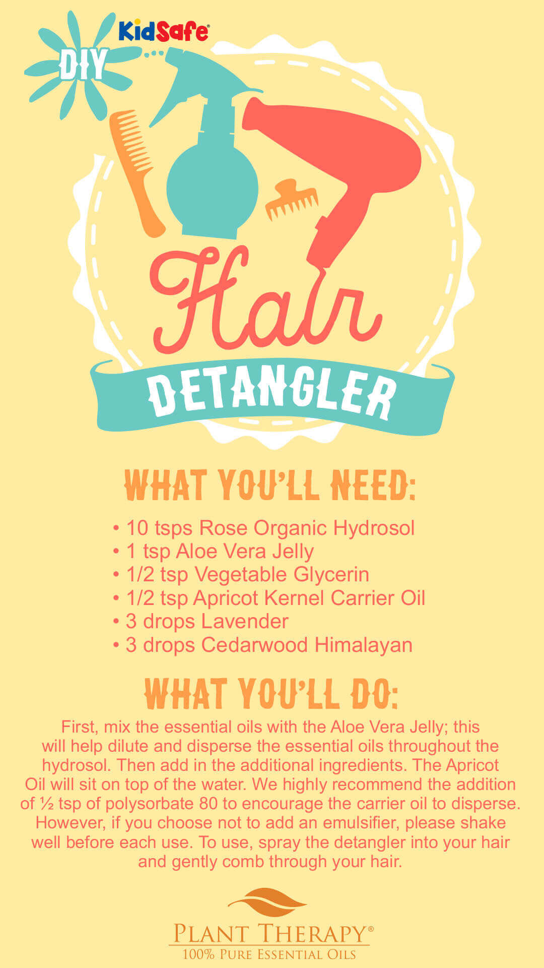 DIY essential oil hair detangler