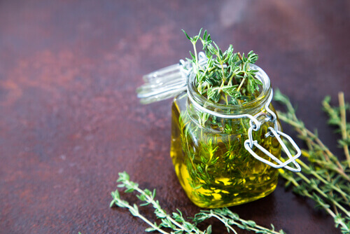 thyme oil glass bottle