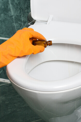 bathroom cleaning rubber gloves