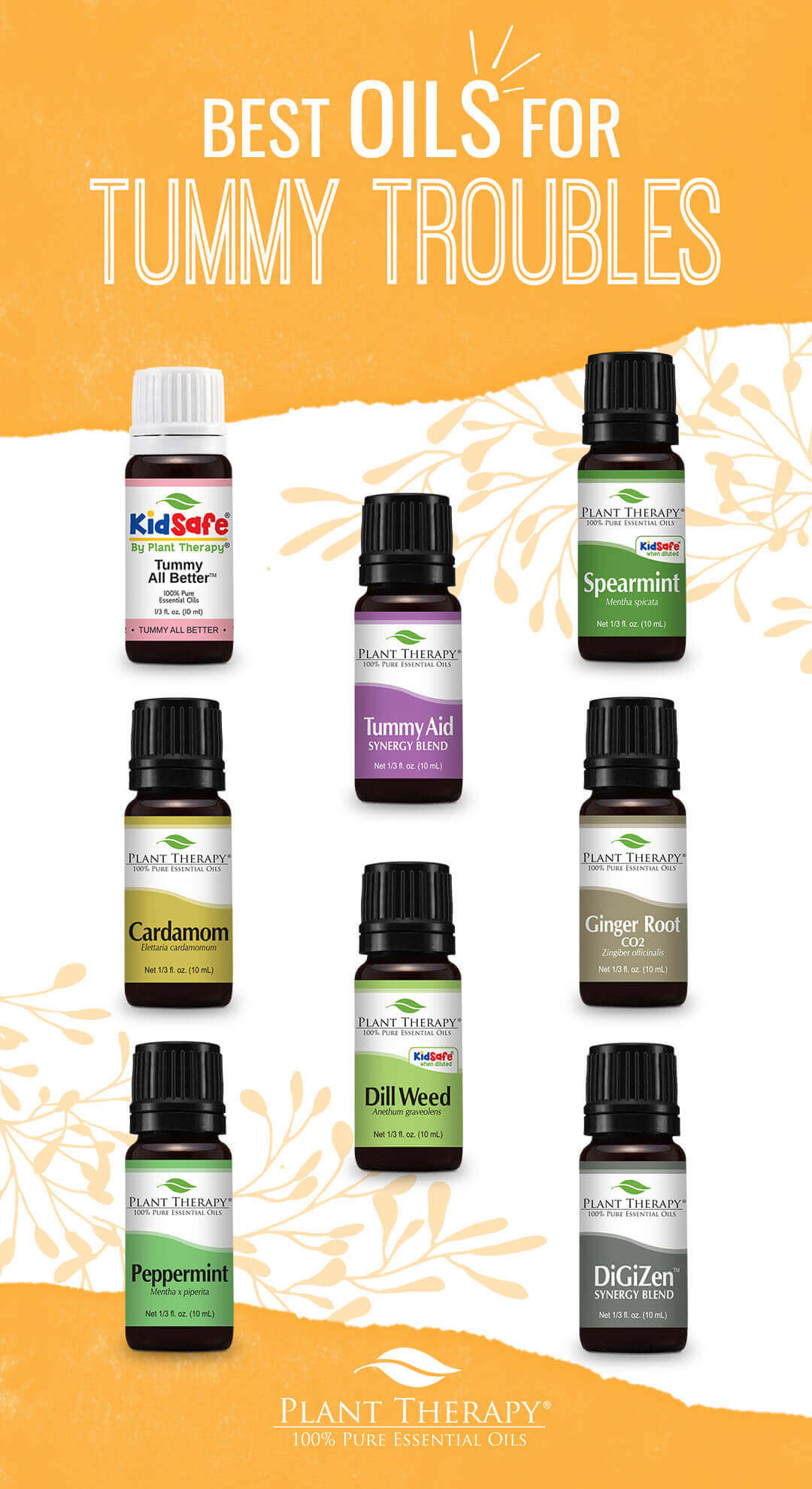best oils for tummy troubles, cardamom, peppermint, dill weed, spearmint, ginger root
