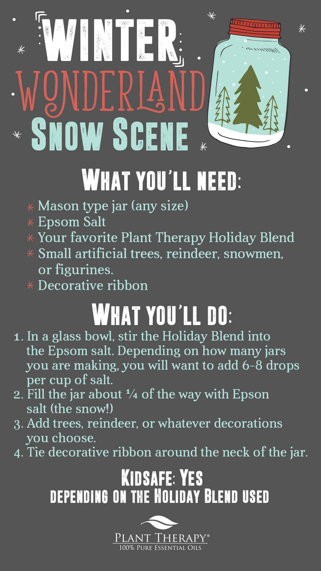 Winter Wonderland snow scene plant therapy DIY with Holiday Blends