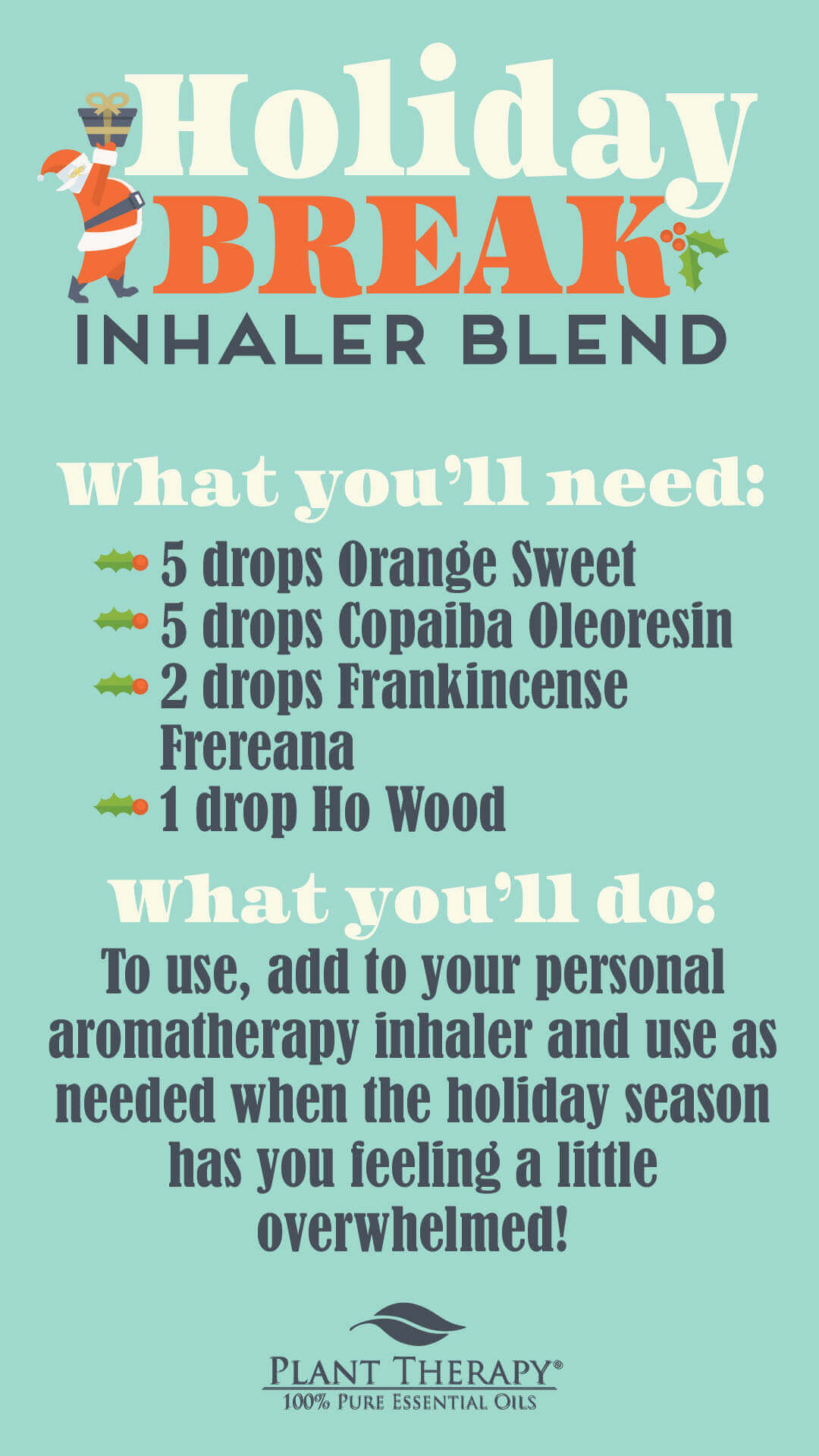 holiday break inhaler blend plant therapy