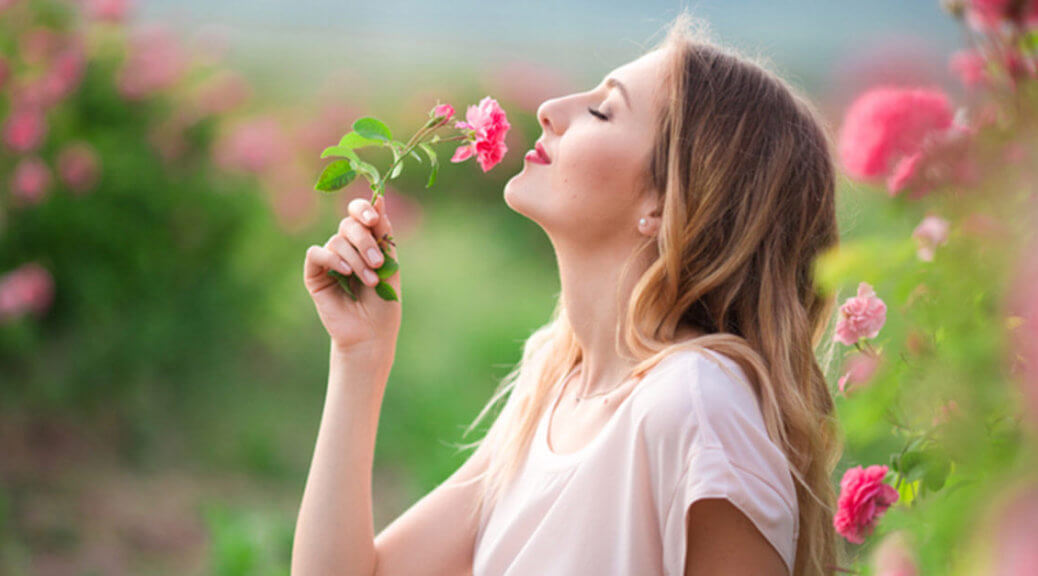 Woman smelling a pink rose