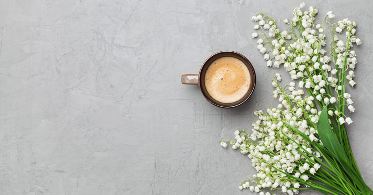 Cup of coffee on a gray background with small white lily flowers