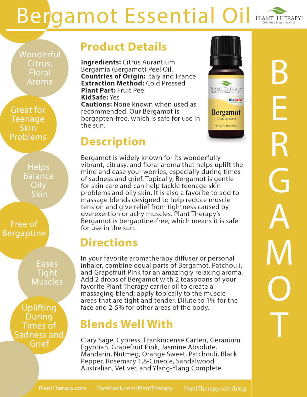 Bergamot Essential Oil from Plant Therapy Product Sheet