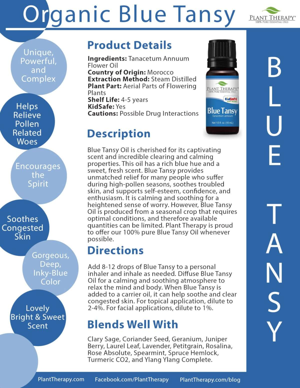 Organic Blue Tansy essential oil plant therapy