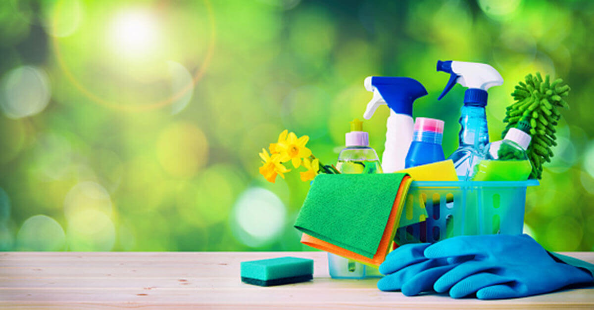 Cleaning products with a green background