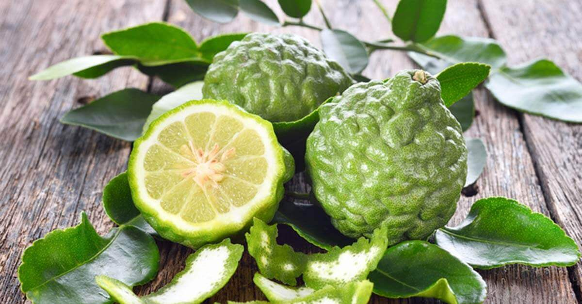 Three bergamot fruits on a wooden background