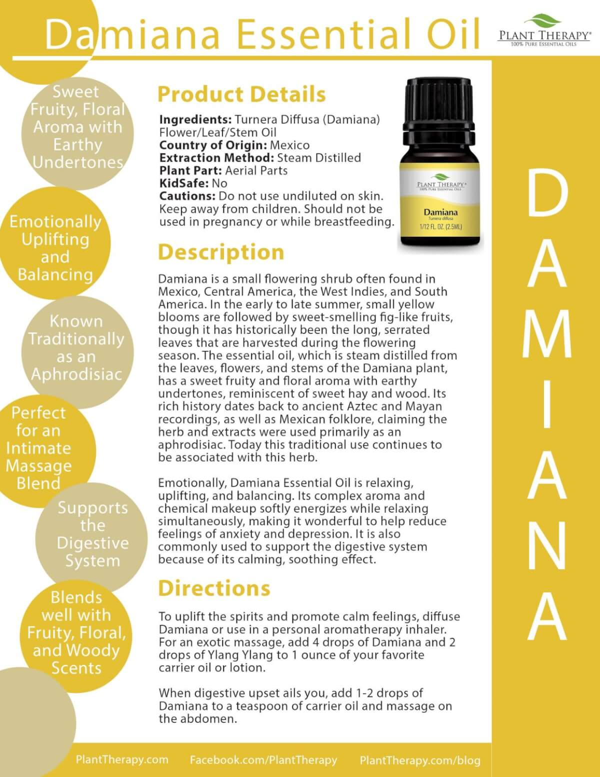 Damiana Product Sheet from Plant Therapy