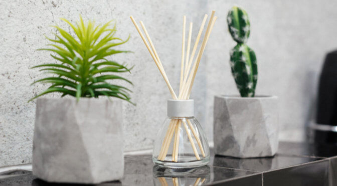 Reed diffuser being used in home