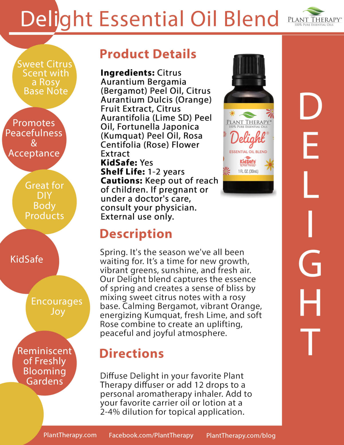 Delight Essential Oil Blend product sheet from Plant Therapy