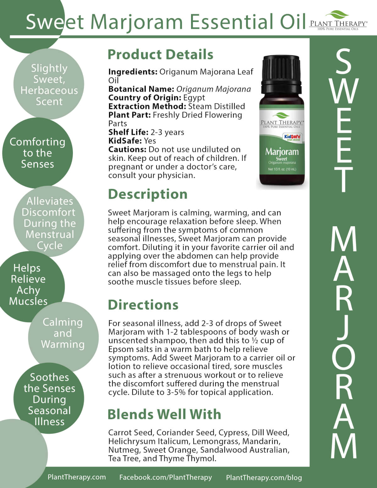 Sweet Marjoram from Plant Therapy Product Sheet
