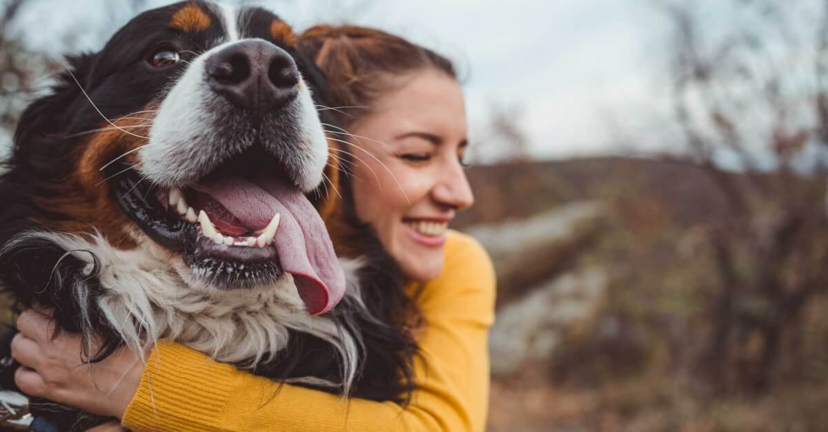 Woman happy with her dog