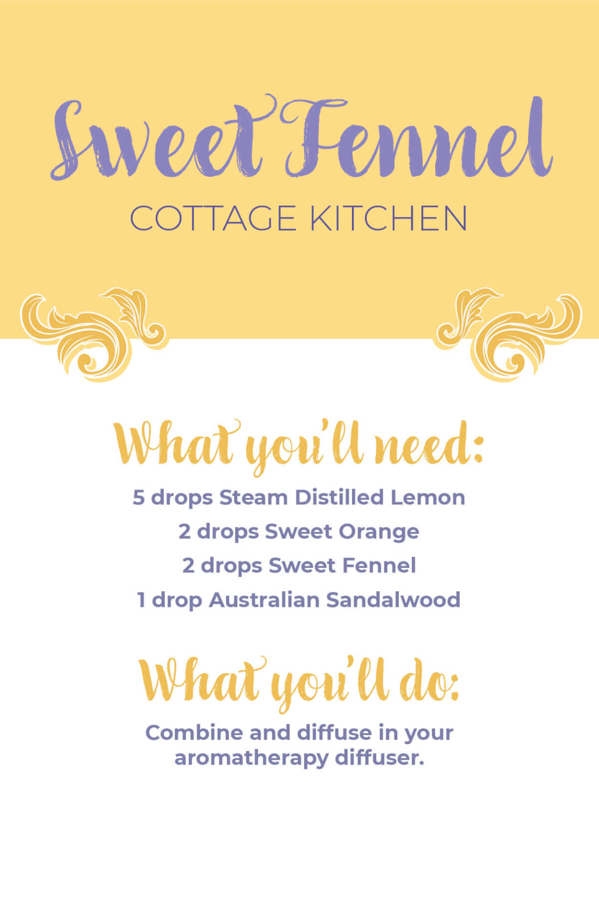 Sweet Fennel Essential Oil Cottage Kitchen Diffuser Blend