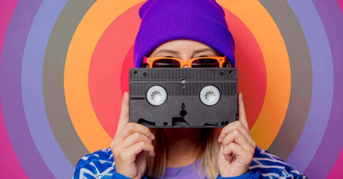 Retro Girl with a Cassette Tape
