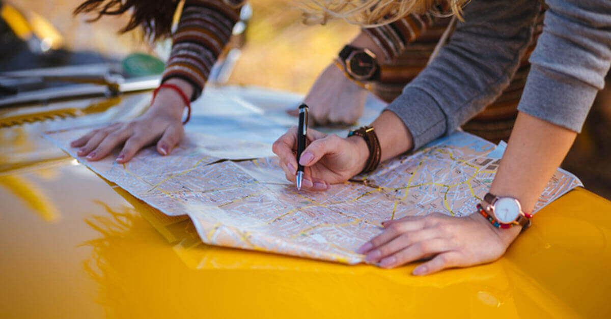 Planning a roadtrip with a map