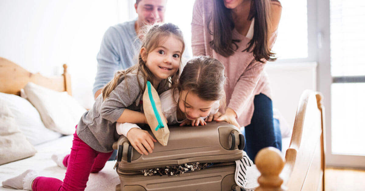 family packing for vacation