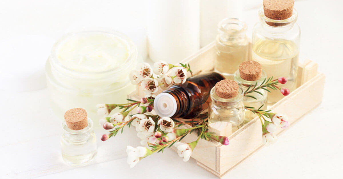 Essential oils with floral and skincare accents