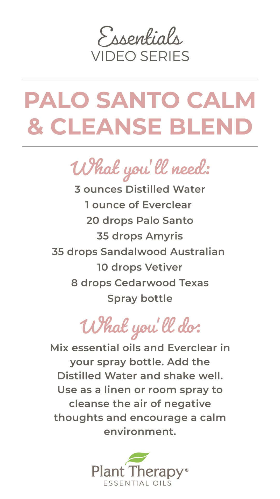 Palo Santo Calm & Cleanse Blend DIY