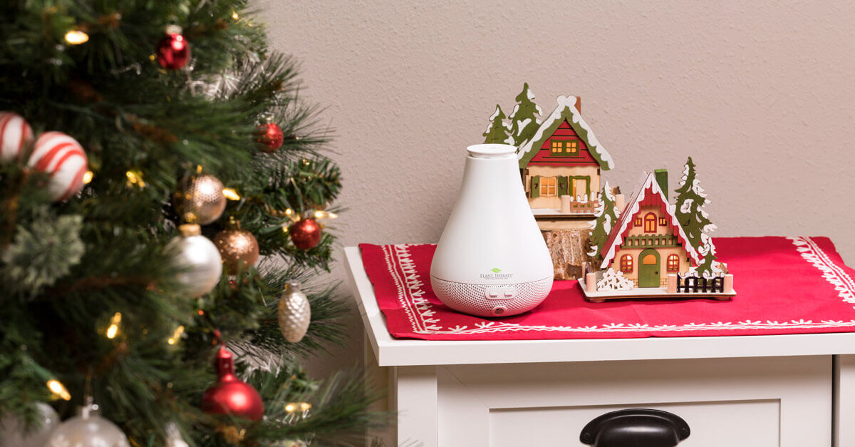 Diffuser next to a Christmas Tree