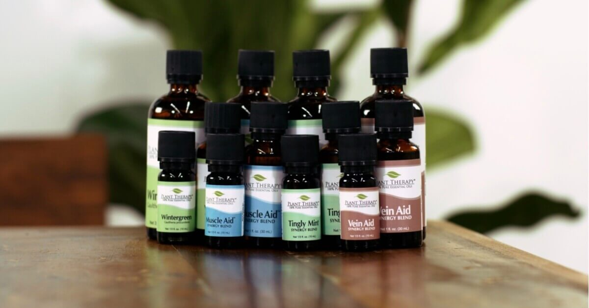 Wintergreen, Muscle Aid, Tingly Mint and Vein Aid Essential Oils