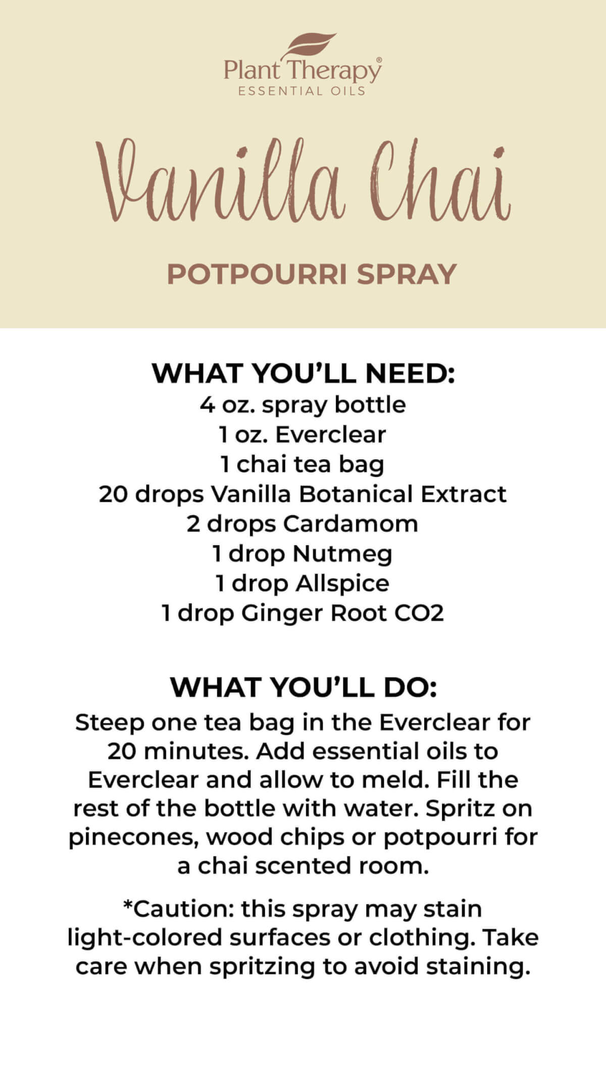 Vanilla Chai Potpourri Spray Instructions