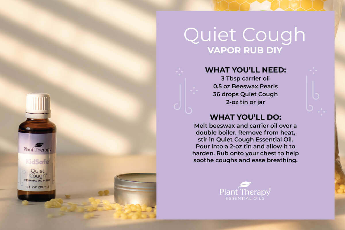 Quiet Cough Essential Oil blend bottle next to beeswax pearls with written instructions for the Vapor Rub DIY