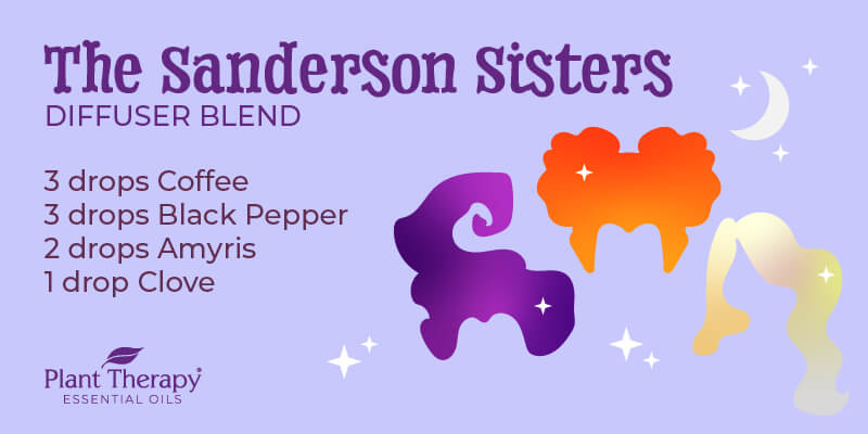 The Sanderson Sisters Hocus Pocus themed diffuser blend graphic