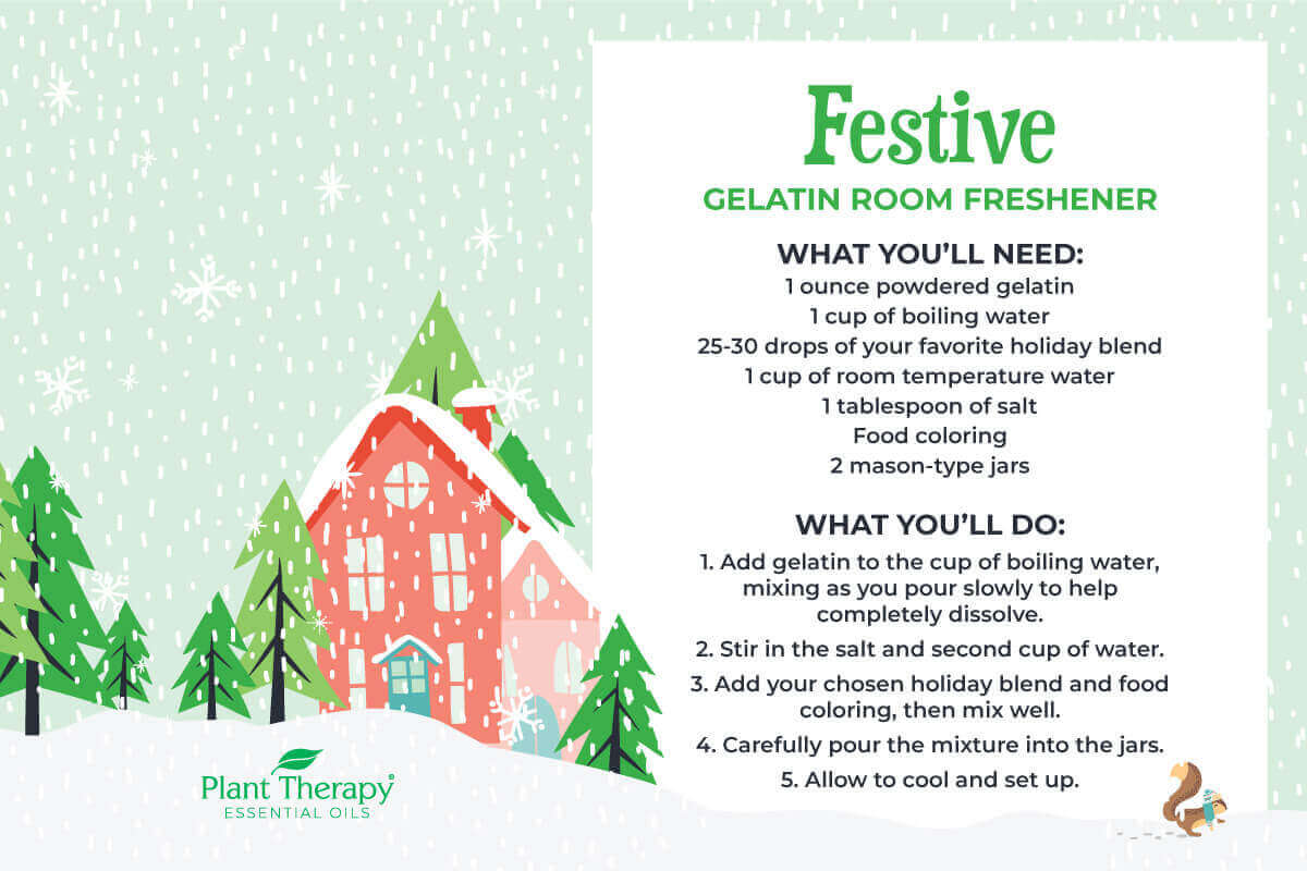 Illustrated graphic with trees and snow and the directions for gelatin room freshener