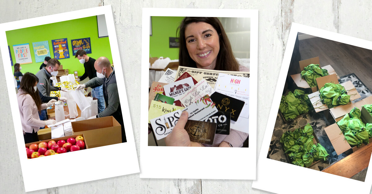 Photo collage of building sack lunches, a bundle of gift cards, and filled green goodie bags