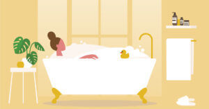 illustrated image of a woman relaxing in the bathtub