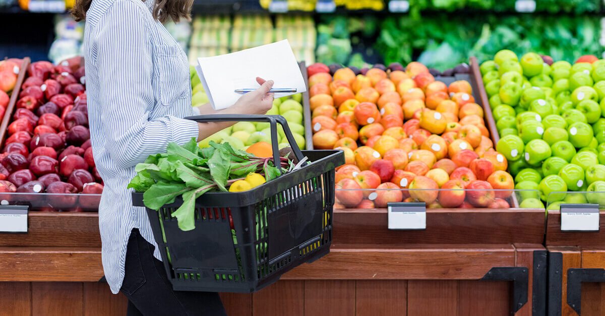 Woman shopping in the produce section