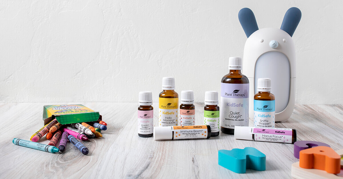 Line up of Plant Therapy's KidSafe essential oils and KidSafe products