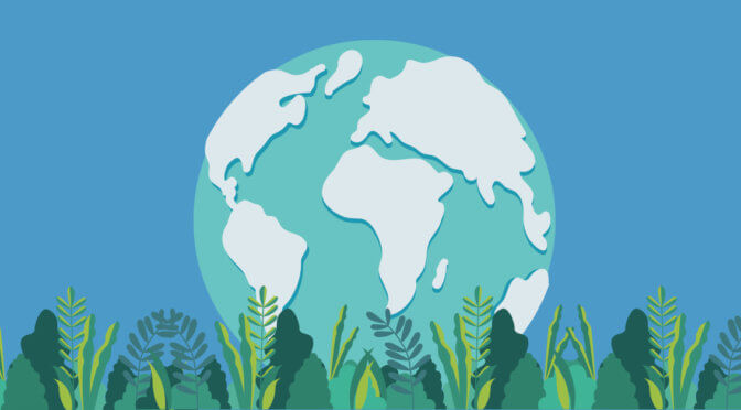 Illustration of the earth with green accents for earth day