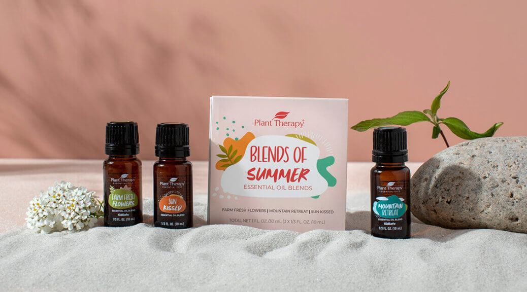 line up of Plant Therapy's Blends of Summer essential oil blends